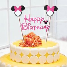 1set Mickey Minnie mouse theme happy birthday cupcake cake topper flags baby shower kids birthday party Cake decoration supplies