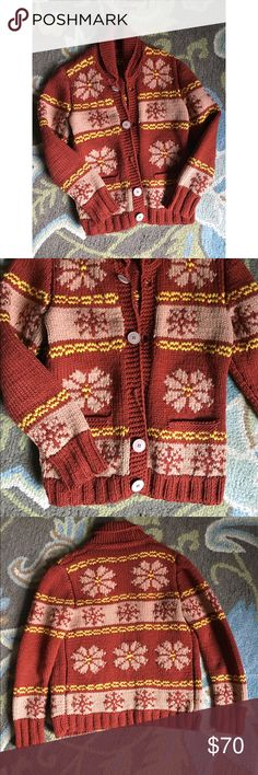 Vintage Cowichan Sweater Vintage heavy duty cowichan sweater. no tags so not sure of size. unique color combo of rust red, goldenrod yellow, and a peachy cream tan. not sure of material, probably wool blend because of the weight. missing button, easily fixable. Vintage Sweaters