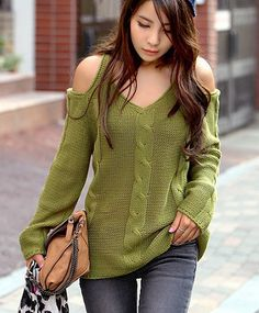 A super cute knit sweater with a sexy off the shoulder look! V-neckline with long sleeves. Size: One Size (Regular) fits S/M best Bust: Length: Shipping: For this item, please allow up to business days for delivery after shipment. Pink Costume, Knitted Baby Cardigan, Off Shoulder Sweater, Winter Outfits Women, Green Sweater, Autumn Winter Fashion, Sweaters For Women, Glamour, Pullover