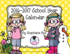 Grab this adorable 2016-2017 calendar for free just in time for back to school!Want an editable version?  You can find one here:School Year Calendar 2016-2017 Editable VersionCopyright 2016 - Stephanie Rye - Forever in Fifth Grade*****************************************************************************Customer Tips: How to get TPT credit to use on future purchases:       Please go to your My Purchases page (you may need to login).