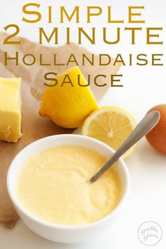 This simple 2 minute easy hollandaise sauce is delicious and stress free. Use it for eggs benedict, as a dip for vegetables or a pour over sauce for steak or chicken. A rich and buttery sauce with the mild tang of lemon juice. Delicious and using my metho Sauce Steak, Buttery Steak Sauce, Egg Recipes, Brunch Recipes, Cooking Recipes, Breakfast Recipes, Breakfast Sauce Recipe, Salads, Finger Foods