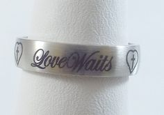 Ladies 'Love Waits' Heart/Cross Stainless Steel Silver Ring~Sz 7-Free Gift Box