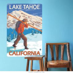 This wall decal features vintage style artwork inspired by old fashioned US travel posters. Removable wall sticker is made of textured polyester fabric with a glare-free matte finish. Sticks to most flat surfaces in your home or office. Made in the USA with eco-friendly materials. Copyright Lantern Press/artlicensing.com.