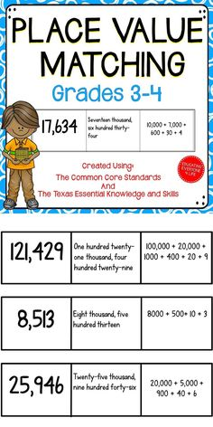 Place Value - Students will have fun with this fun and engaging matching game for the math classroom.