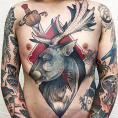 Abstract deer tattoo by Sneaky Mitch Allenden.