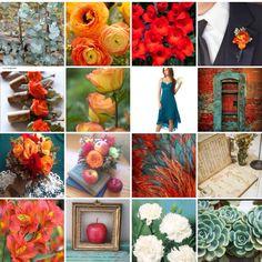 Orange, teal, copper and cream. Inspiration board by Dana Smyl Event Florist