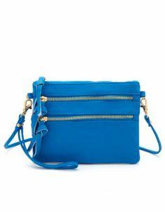 triple zipper mini cross-body bag