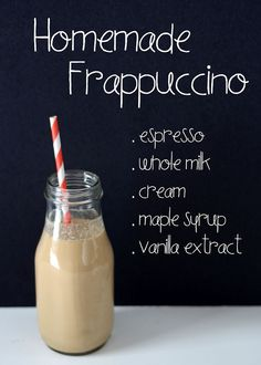 Homemade DIY Starbucks Frappuccino from scratch recipe Starbucks Drinks, Coffee Drinks, Starbucks Frappuccino, Summer Drinks, Fun Drinks, Alcoholic Beverages, Homemade Frappuccino, Easy Frappuccino Recipe Without Coffee, Homemade Starbucks Recipes