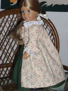 1770s Colonial Sacque Back Gown Dress for American Girl Felicity Elizabeth 18 inch doll by alohagirldollclothes on Etsy