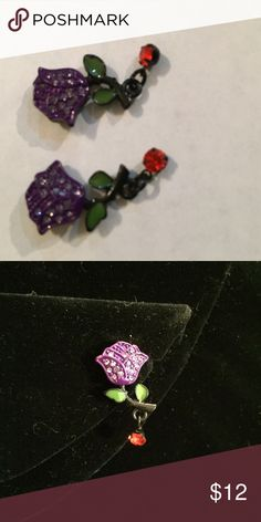 "Vintage Betsey Johnson floral earrings 1"" stud earrings. Purple rhinestone encrusted rose with and dangling red stone. Betsey Johnson Jewelry Earrings"