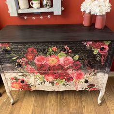 Redesign with Prima Royal Burgundy 46 x 32 Funky Furniture, Decoupage Furniture, Beautiful Furniture, Decor, Pretty Furniture, Chalk Paint Furniture, Hand Painted Furniture, Painted Furniture, Refinishing Furniture