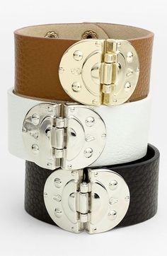 Hinged Leather Bracelet