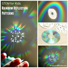 STEM / Science for Kids: Exploring Rainbow Reflections with a CD and Paper Snowflakes- fun way to explore light! ~ BuggyandBuddy.com