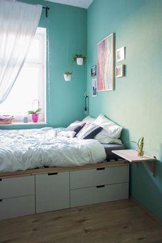 Ikea hacks: how to make your furniture unique! Small Room Design Bedroom, Home Room Design, Room Decor Bedroom, Men Bedroom, Bedroom Ideas, Bed Frame With Storage, Bed Storage, Smart Bed, Aesthetic Bedroom