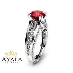 Unique 2 Carat Ruby Ring Filigree Design Ruby Engagement Ring Solid 14K White Gold Ring Art  Deco Styled Alternative Ring