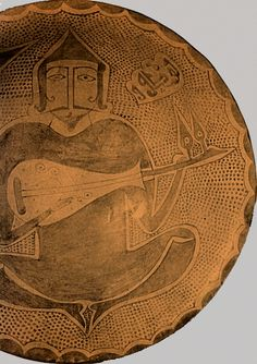 Lute or Oud or rubab on an Iraqi lusterware bowl from the Abbasid art period 10th century.
