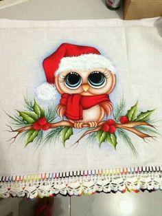 Corujinha fofa achado na net Country Christmas Crafts, Christmas Rock, Christmas Owls, Christmas Drawing, Christmas Paintings, Holiday Crafts, Christmas Ornaments, Tole Painting, Fabric Painting