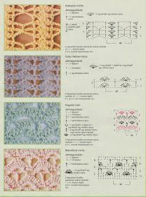 More options for my kitchen window Crochet Stitches Chart, Different Crochet Stitches, Crotchet Patterns, Crochet Diagram, Crochet Motif, Knitting Stitches, Stitch Patterns, Crochet Lamp, Crochet Books