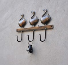 "Handmade 100% Solid Metal wall Key Hanger 12"" (Inch) Bird  Hanger Home Decor  #RAJWADI"
