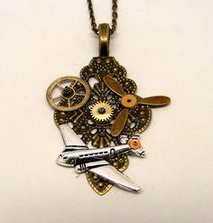 Steampunk jewelry. Steampun airplane necklace pendant. by slotzkin