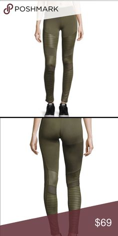 0159059f8fba0 Electric Yoga Motorcycle Pants Olive Details: Pintuck ribbing and contrast  inserts make moto style on