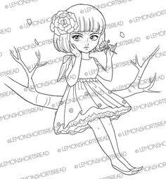 Bob Pixie Fairy with Flower Digital Stamp by lemonshortbread