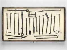[SURGICAL INSTRUMENTS].  A group of 21 of finely grained wrought iron surgical instruments. European, 16th or 17th Century. Health Practices, Medical Equipment, 17th Century, Wrought Iron, Barber, Counseling, Sheep, Anatomy, Concept Art