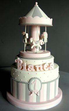 I love the colours Carousel Cake, Carousel Birthday, Baby Girl Cakes, Baby Birthday Cakes, Gateau Baby Shower, Baby Shower Cakes, Fondant Cakes, Cupcake Cakes, Winter Torte