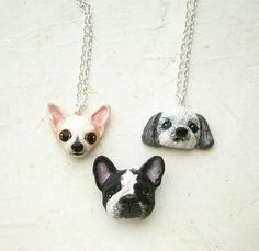 Custom Dog Necklace or brooch Pet portrait pet by FlowerLandShop