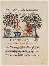 Preparation of Medicine from Honey: Leaf from an Arabic translation of the Materia Medica of Dioscorides, dated 1224 Iraq, Baghdad School Colors and gold on paper, Metropolitan Museum of Art Islamic World, Islamic Art, House Of Wisdom, Ancient Mesopotamia, Ancient Civilizations, Bagdad, Les Religions, Culture War, Angels