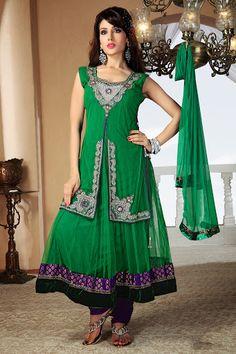 Chic Emerald Green Salwar Kameez | StylishKart.com