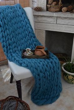 Chunky knit blanket Mint Green BlanketMohair Chunky knit