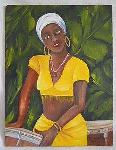 "A black female conga drum player, musician.ned lower right ""E Aldao"". African American Art, African Art, Drums Girl, Velvet Painting, Sailboat Painting, Black Women Art, Outsider Art, Oil Painting On Canvas, Original Paintings"