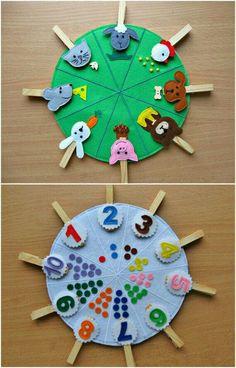 Juguetes hechos a mano para los más pequeños de la casa. Aprender a contar y lo que comen los animales. #juguetesparaniños #montessori #aprenderjugando