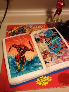Cake Central - The world's largest online cake decorating community. Flash Cake, Flash Birthday Cake, Flash Comic Book, Playstation Cake, Comic Party, Flash Comics, Bottle Cake, Book Cakes, Superhero Cake