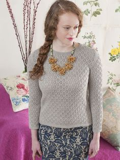 Lewes textured jumper knitting pattern in the Rooster Village Living pattern book- get it at Laughing Hens