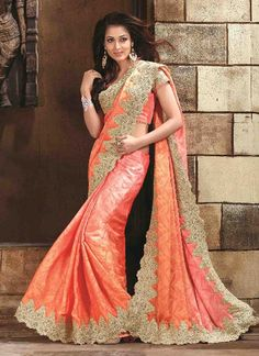 Auspicious Jacquard Orange Patch Border Work Designer Saree