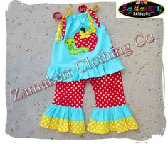Girl Back To School Outfit Apple Clothing by ZamakerrClothingCo