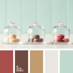 Pleasant color composition in which pastel colors are balanced by active. Brown gives depth and palette land. Red-brown suit in an accent if you want to balance the lightness of mint and milk. Sand shade softens the whole gamut. A wonderful combination of colors.