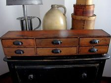Antique Apothecary Tool Chest Box Drawer Cabinet