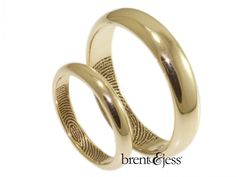 From www.brentjess.com - 14k Yellow Gold Set of Low Dome Fingerprint Wedding Bands with Interior Tip Prints - Custom handmade fingerprint jewelry by Brent&Jess