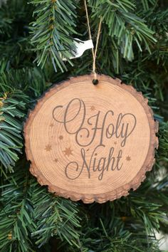 Christmas Crafts - O Holy Night Wood Slice Christmas Ornament from Family Christian Stores AD Christian Christmas Crafts, Christian Crafts, Homemade Christmas, Rustic Christmas, Christmas Art, Christmas Projects, Christmas Tree Decorations, Christmas Tree Ornaments, Holiday Crafts