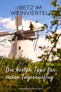 Retz im Weinviertel Tipps & Highlights: Wanderung zur Retzer Windmühle. Die leichte Wanderung zur Windmühle Retz ist auch mit Kindern geeignet. #weinviertel #retz #niederoesterreich #loweraustria Austria, Travel Destinations, Outdoor, Nature, Europe, Air Travel, Day Trips, Family Vacations, Travel Photography