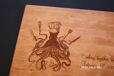 Personalized Chef Octopus Cutting Board