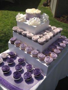 Lavender ombre cupcake wedding