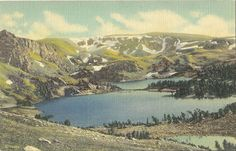 VINTAGE OLD POSTCARD UNUSED LINEN TWIN LAKES RED LODGE COOKE YELLOWSTONE PARK