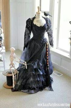 An old wedding dress used as Halloween decoration!