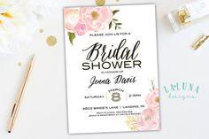 Bridal Shower Invitation, Pink Floral Shower Invite, Glitter Invitation, Pink & Gold Invitation, DIY Printable