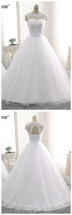 Real Photos Vestido De Noiva Vintage Lace Wedding Dress, Robe De Mariage Appliques Lace Up Bridal Gowns