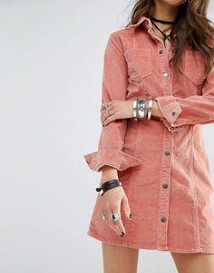 Image 3 ofGlamorous Petite Pink Corduroy Button Front Dress